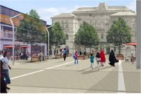 A new vision for Peckham Rye station: the plan would involve removing the buildings in front of the station and replacing them with a public square and improved facilities for local businesses.