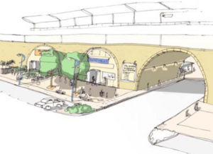 Artists impression of Blenheim Grove with cultural/A3 uses.