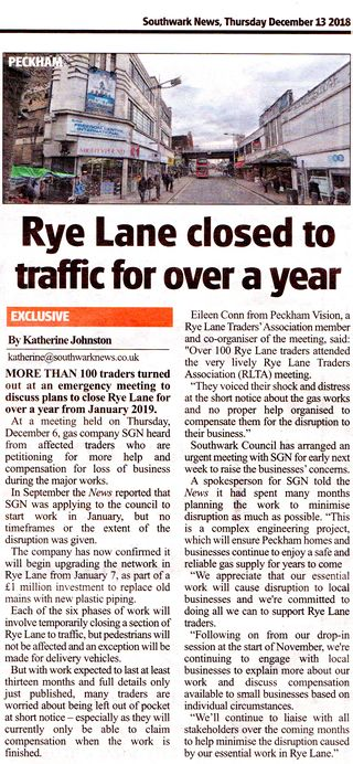 SNews RLTA meeting report about Rye Lane closures for major gas works starting Jan 2019