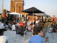The CLF Weekender attracted many people to the Chronic Love Foundation Art Cafe, and the roof was opened up, allowing people views across London.