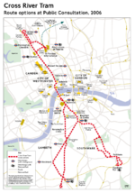 Cross-River Tram planned route.